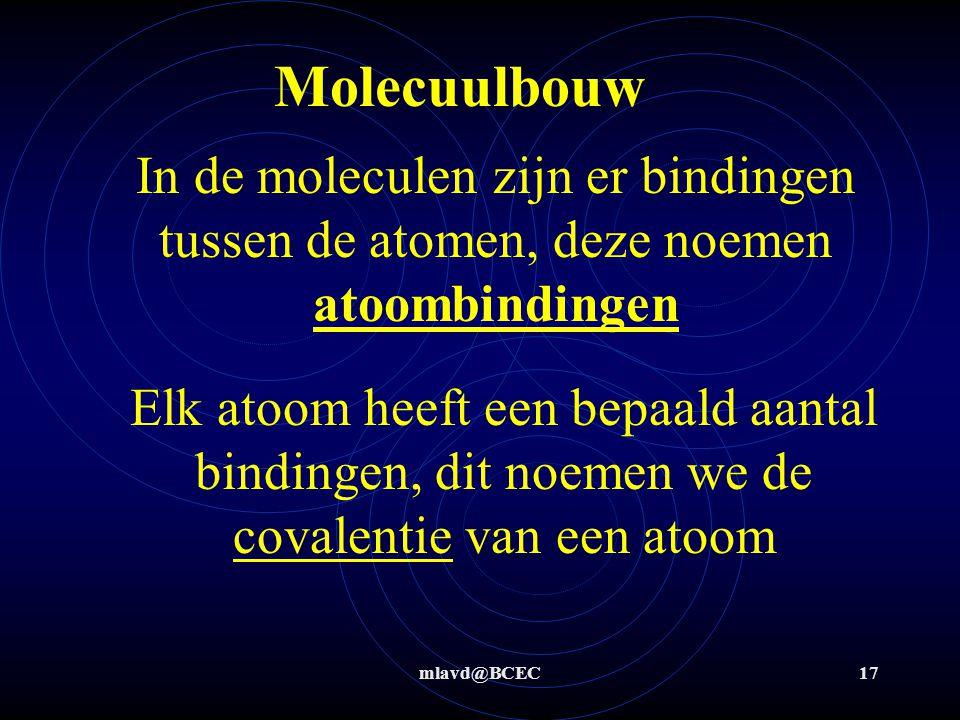 mlavd@BCEC16 Eigenschappen van stoffen Alle stoffen Moleculaire stoffen: bestaan alleen uit niet-metalen Hebben geen lading  geleiden geen stroom Zou