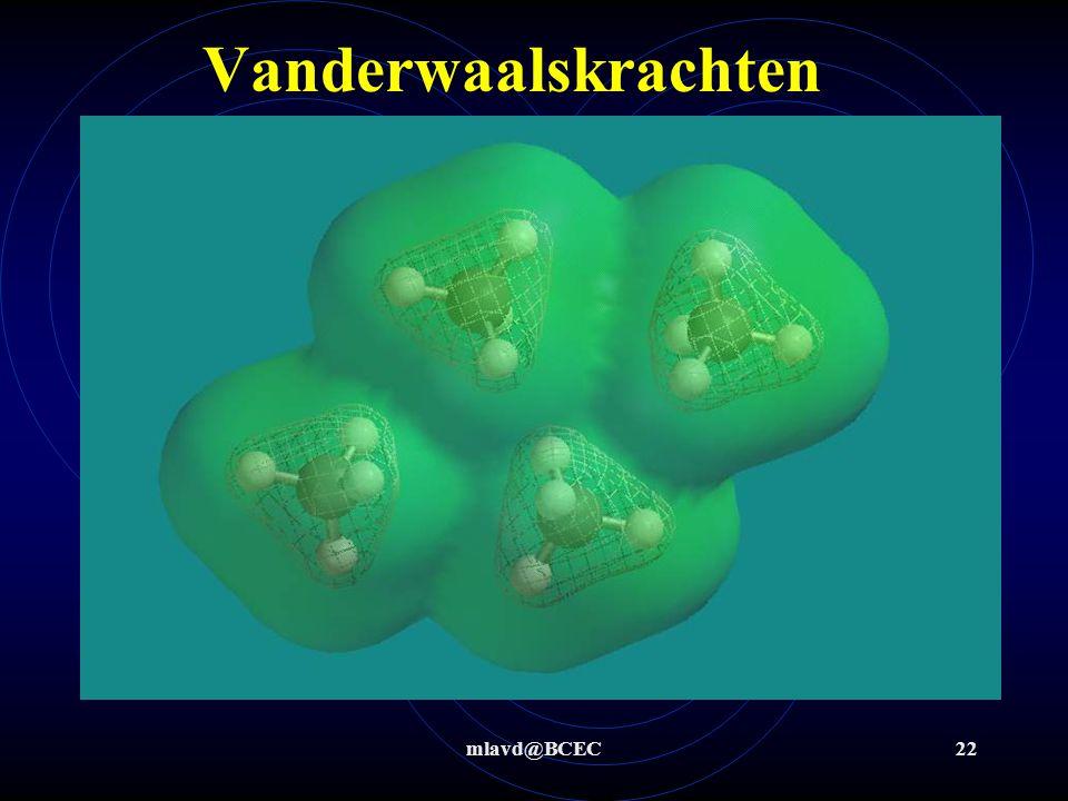 mlavd@BCEC21 Aantrekkende krachten tussen moleculen In de moleculen zijn er bindingen en tussen de moleculen zijn er ook aantrekkende krachten. Deze a