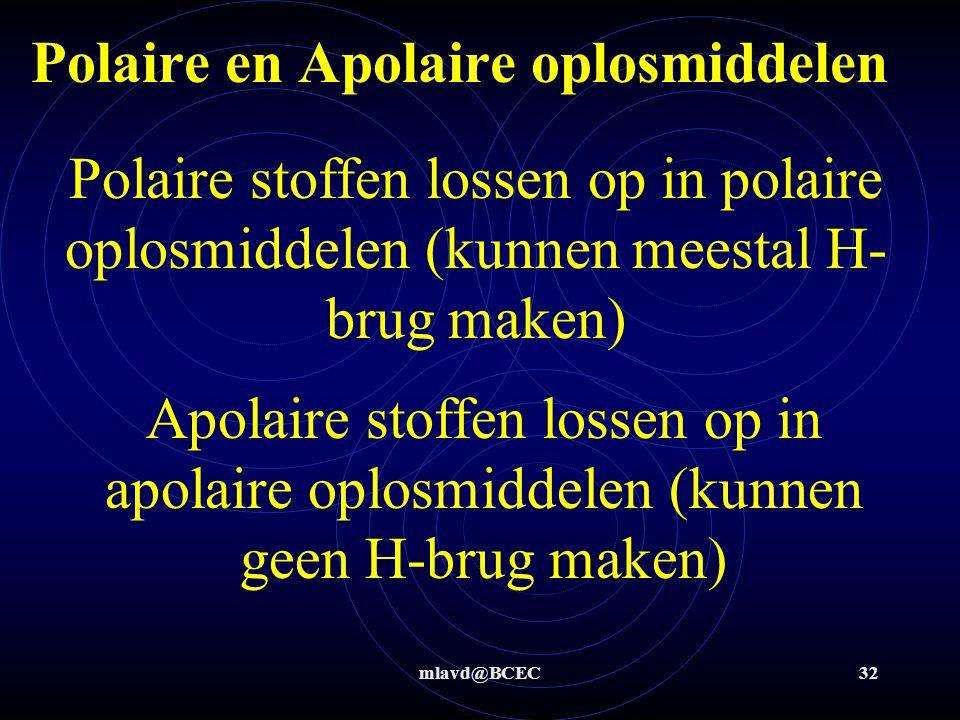 mlavd@BCEC31 Polair en Apolair Een stof wordt apolair genoemd als er veel C en H-atomen in zitten en geen (of heel weinig) andere groepen die bv NH of