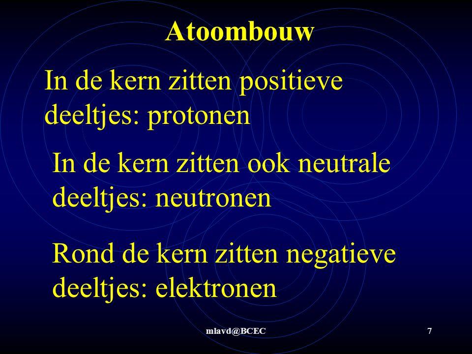 mlavd@BCEC7 Atoombouw In de kern zitten positieve deeltjes: protonen Rond de kern zitten negatieve deeltjes: elektronen In de kern zitten ook neutrale deeltjes: neutronen
