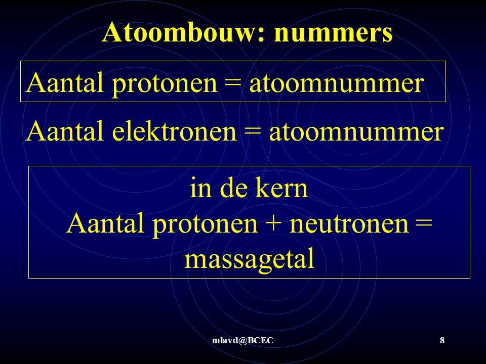 mlavd@BCEC8 Atoombouw: nummers Aantal protonen = atoomnummer Aantal elektronen = atoomnummer in de kern Aantal protonen + neutronen = massagetal