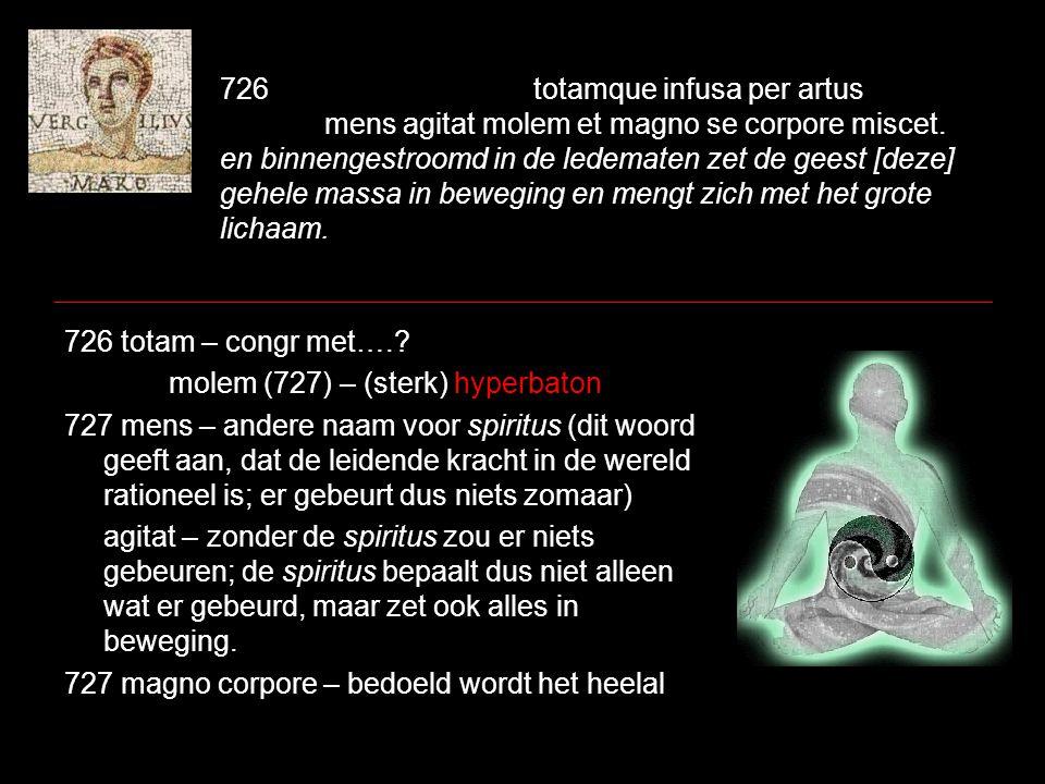 726totamque infusa per artus mens agitat molem et magno se corpore miscet. en binnengestroomd in de ledematen zet de geest [deze] gehele massa in bewe