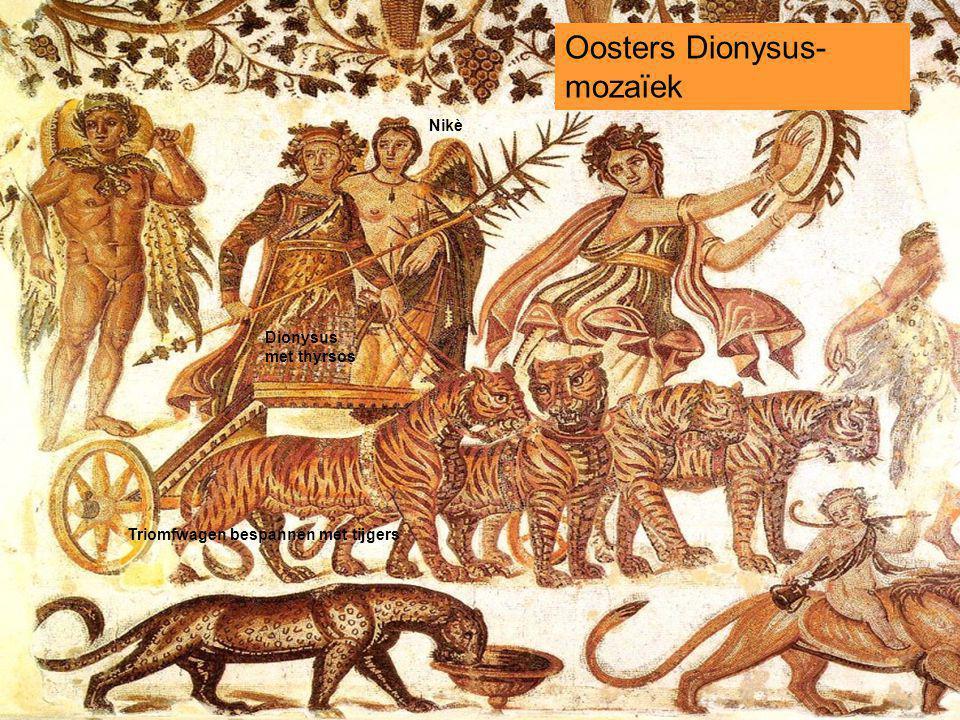 Oosters Dionysus- mozaïek Dionysus met thyrsos Triomfwagen bespannen met tijgers Nikè
