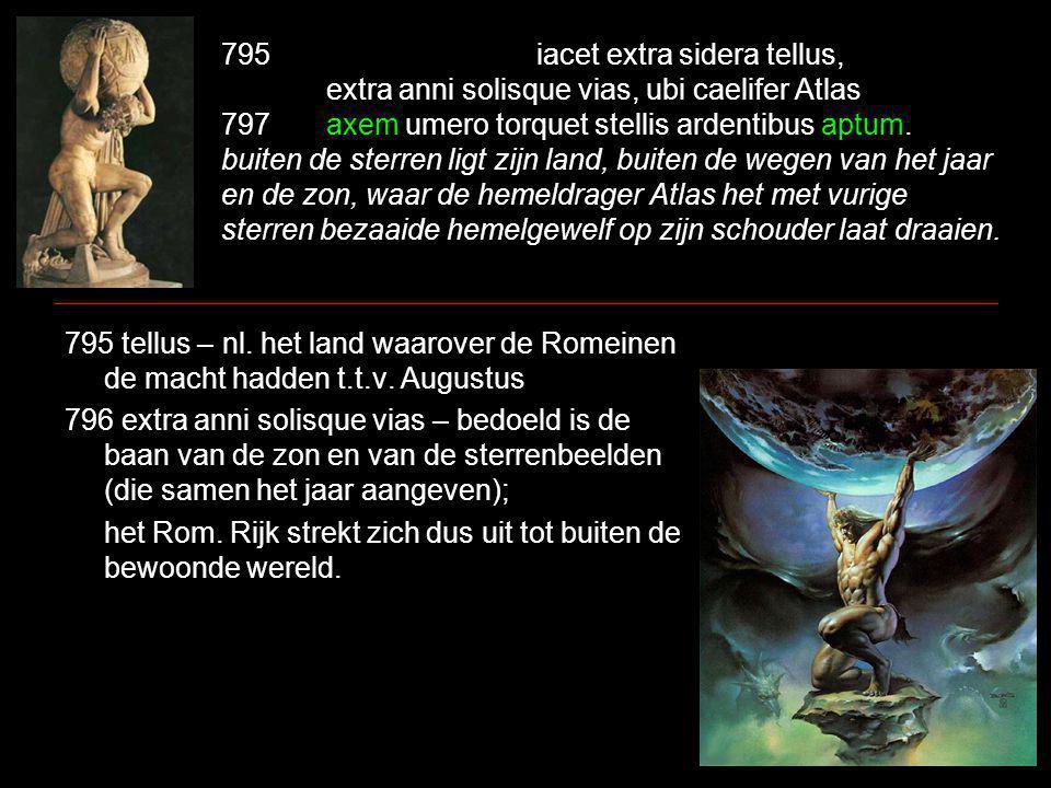 795iacet extra sidera tellus, extra anni solisque vias, ubi caelifer Atlas 797axem umero torquet stellis ardentibus aptum.