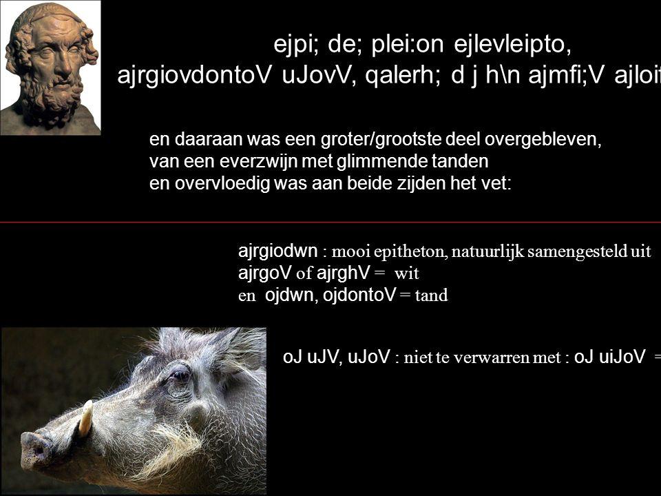 ejpi; de; plei:on ejlevleipto, ajrgiovdontoV uJovV, qalerh; d j h\n ajmfi;V ajloifhv` en daaraan was een groter/grootste deel overgebleven, van een everzwijn met glimmende tanden en overvloedig was aan beide zijden het vet: ajrgiodwn : mooi epitheton, natuurlijk samengesteld uit ajrgoV of ajrghV = wit en ojdwn, ojdontoV = tand oJ uJV, uJoV : niet te verwarren met : oJ uiJoV = zoon