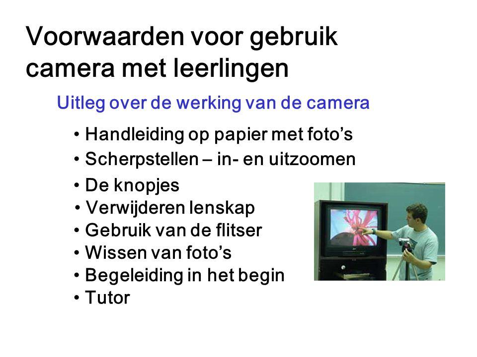 Voorwaarden voor gebruik camera met leerlingen Tutor Uitleg over de werking van de camera Handleiding op papier met foto's Scherpstellen – in- en uitz