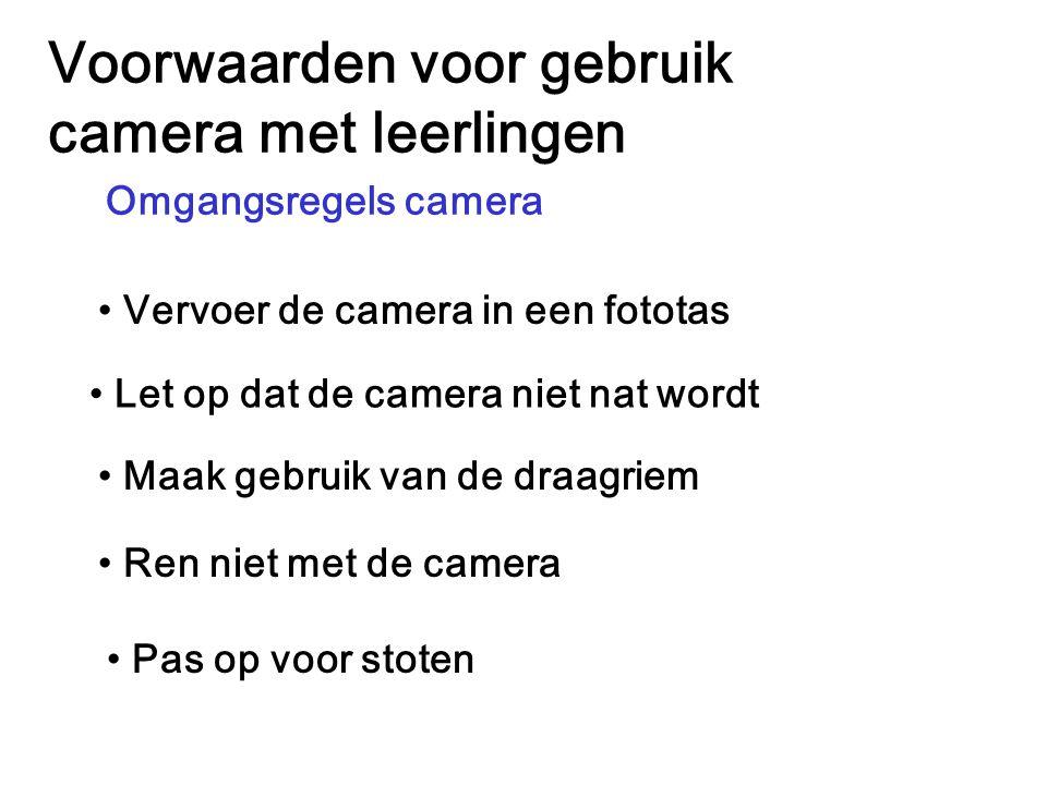 Voorwaarden voor gebruik camera met leerlingen Ren niet met de camera Omgangsregels camera Vervoer de camera in een fototas Let op dat de camera niet