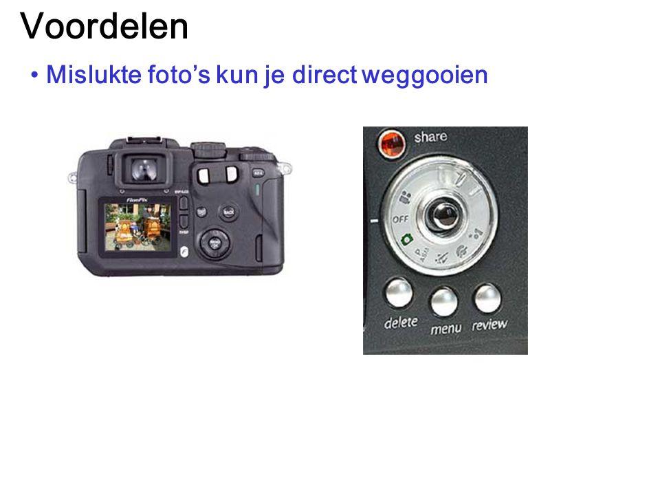 Voordelen Mislukte foto's kun je direct weggooien
