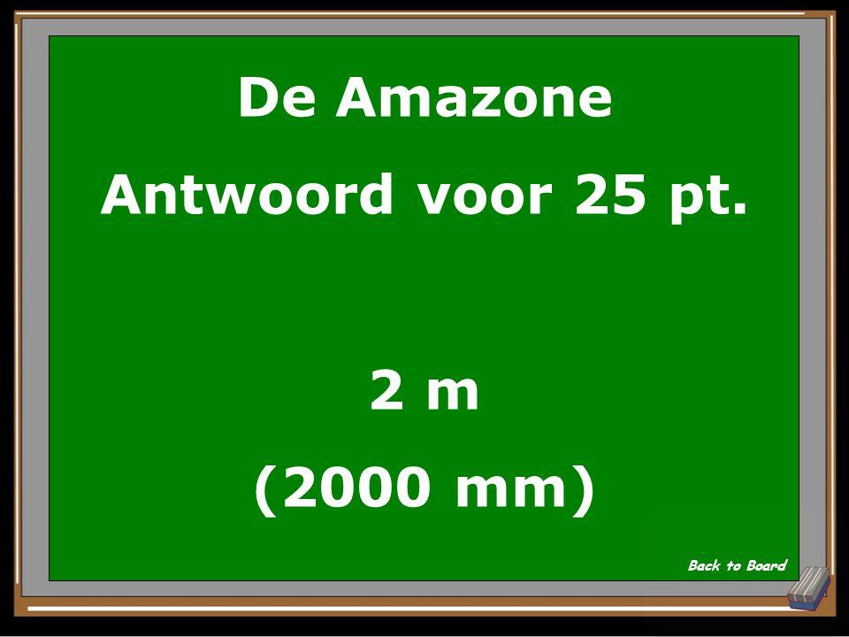 De Amazone Vraag voor 25 pt. Hoeveel meter regen valt er gemiddeld in het regenwoud? Show Answer