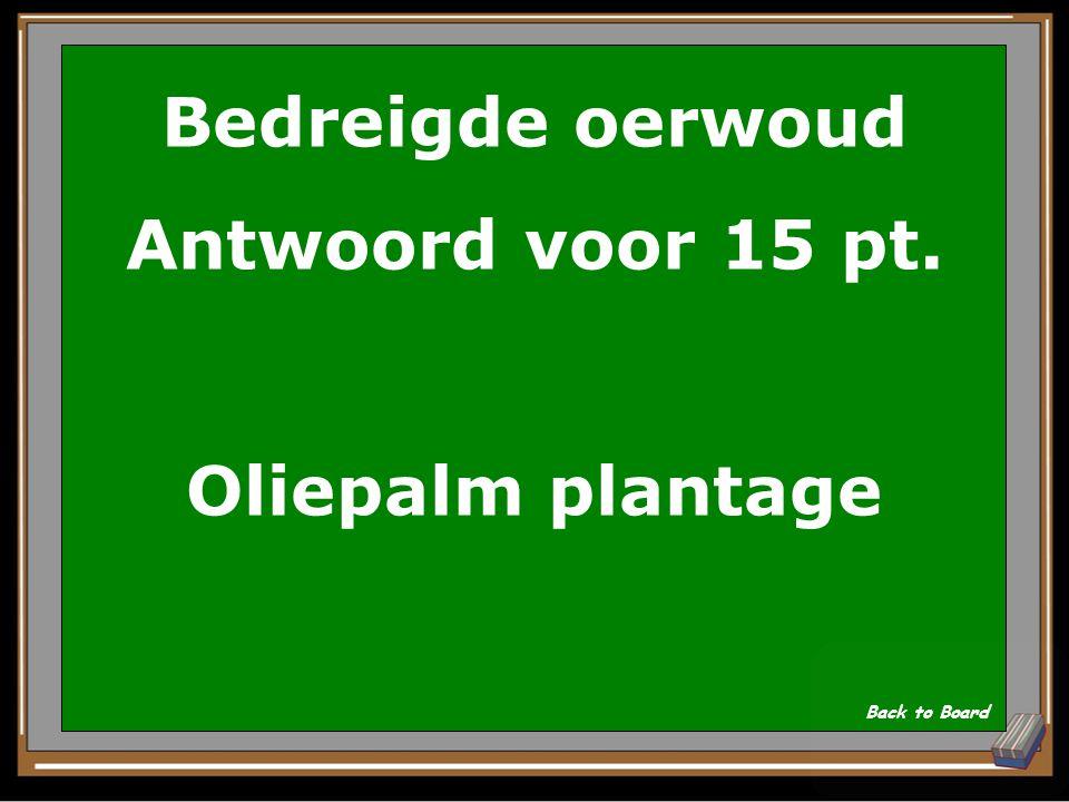 Bedreigde oerwoud Vraag voor 15 pt. Welke plantage wordt nu vooral aangelegd in plaats van regenwoud? Show Answer