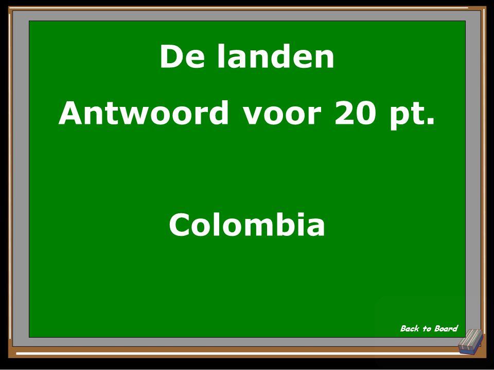 De landen Vraag voor 20 pt. Welk tropisch land is vernoemd naar zijn ontdekker? Show Answer