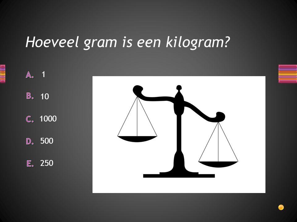 Hoeveel gram is een kilogram? 250 500 1 10 1000