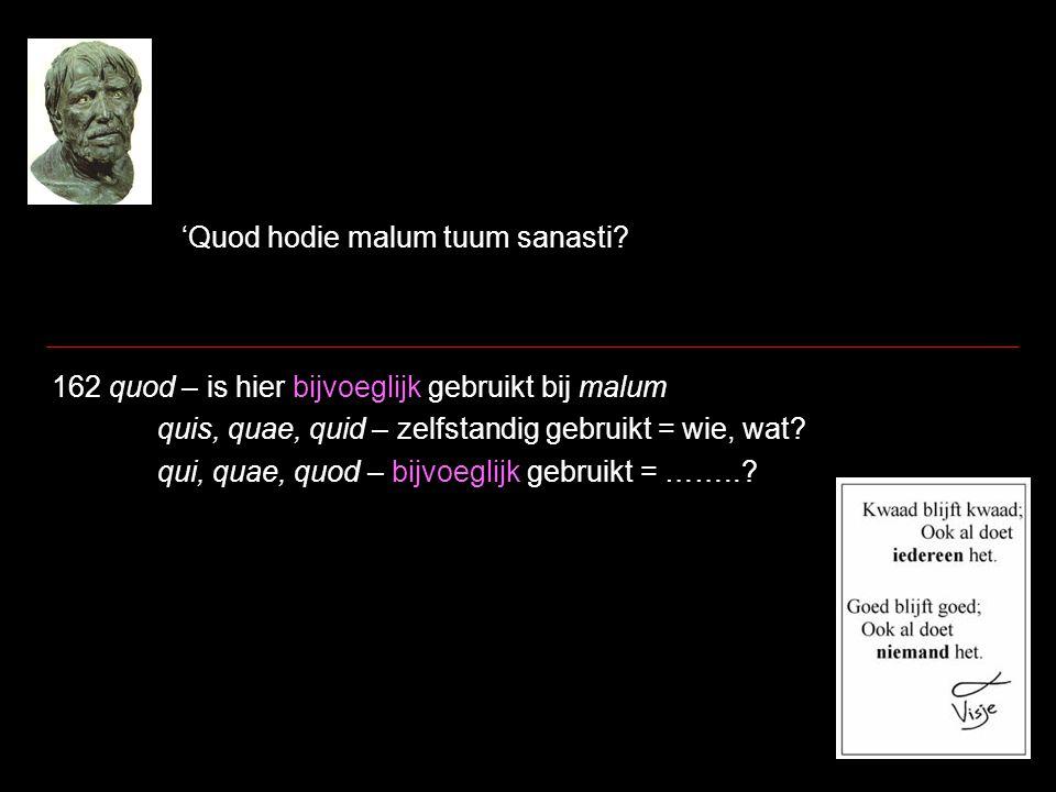 'Quod hodie malum tuum sanasti? 162 quod – is hier bijvoeglijk gebruikt bij malum quis, quae, quid – zelfstandig gebruikt = wie, wat? qui, quae, quod