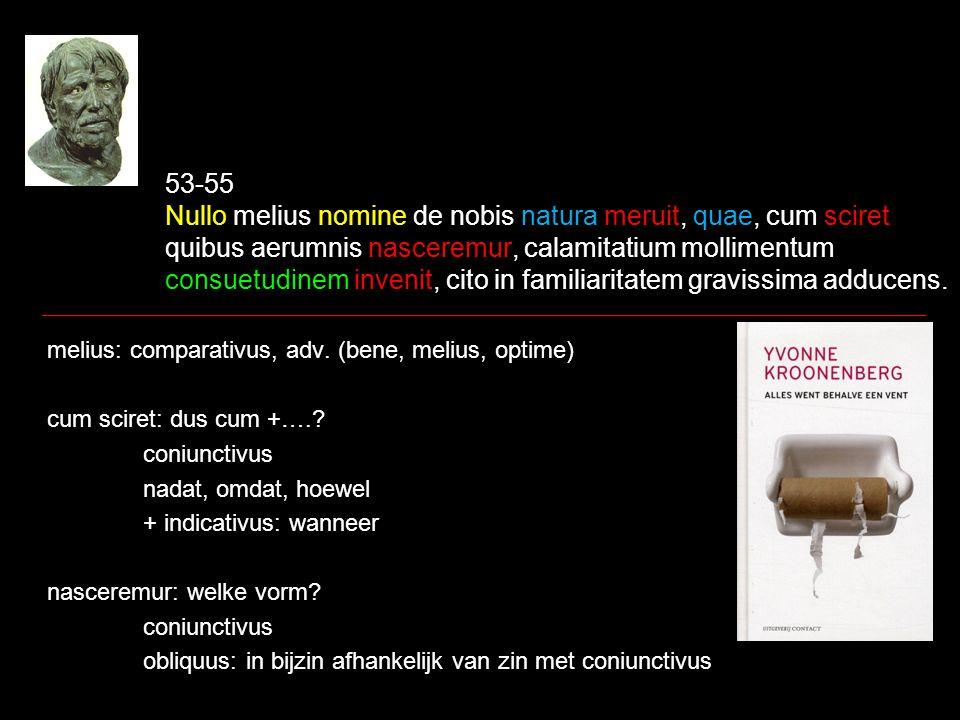 53-55 Nullo melius nomine de nobis natura meruit, quae, cum sciret quibus aerumnis nasceremur, calamitatium mollimentum consuetudinem invenit, cito in