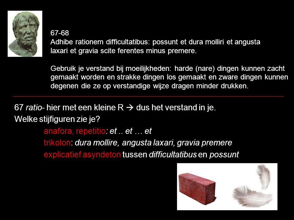 67-68 Adhibe rationem difficultatibus: possunt et dura molliri et angusta laxari et gravia scite ferentes minus premere. Gebruik je verstand bij moeil