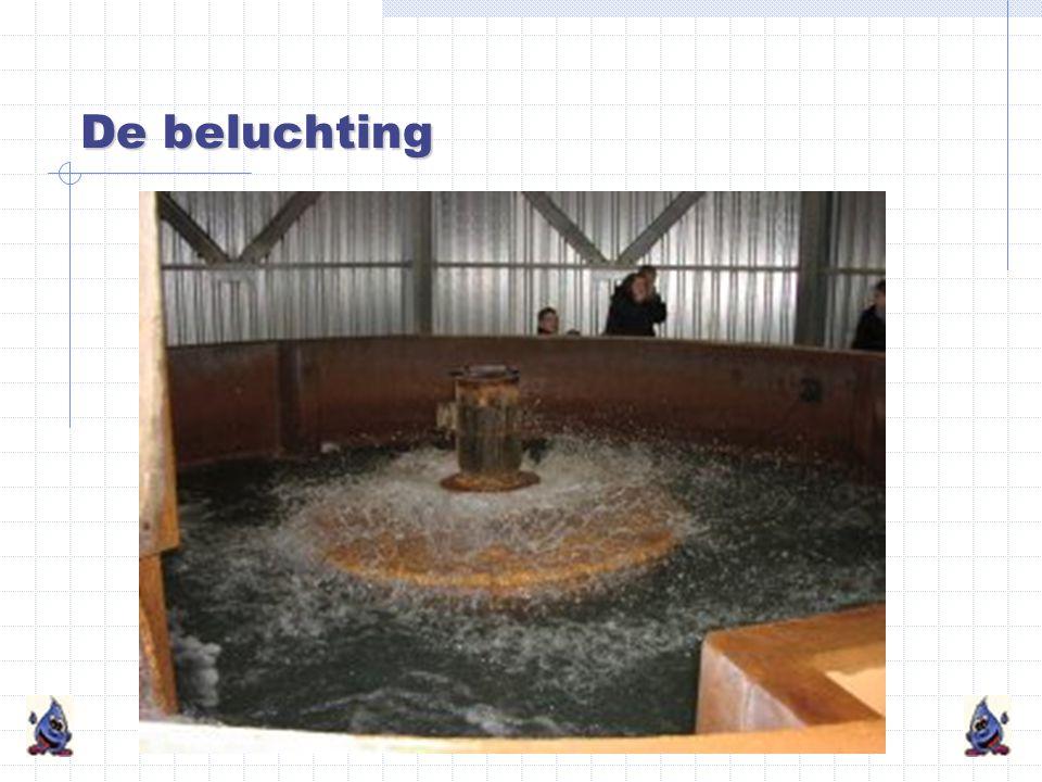 De beluchting Het water wordt in kleine druppeltjes gebroken. Hierdoor wordt zuurstof in het water opgenomen. Ongewenste gassen verdwijnen uit het wat