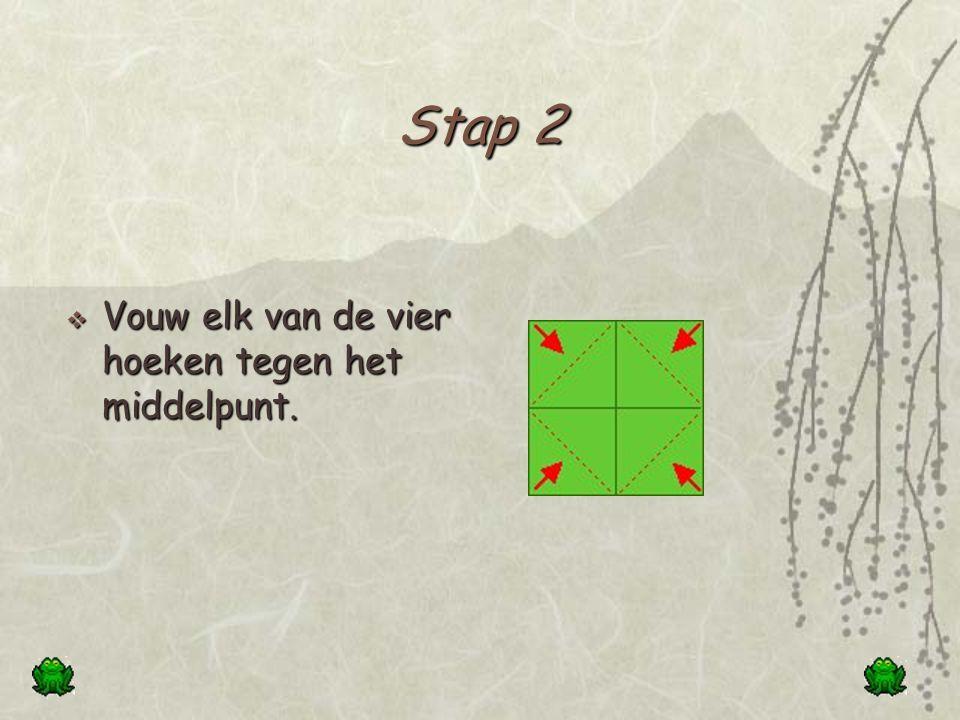 Stap 1  Vouw de overstaande zijden tegen elkaar.  Leg het blaadje terug open.