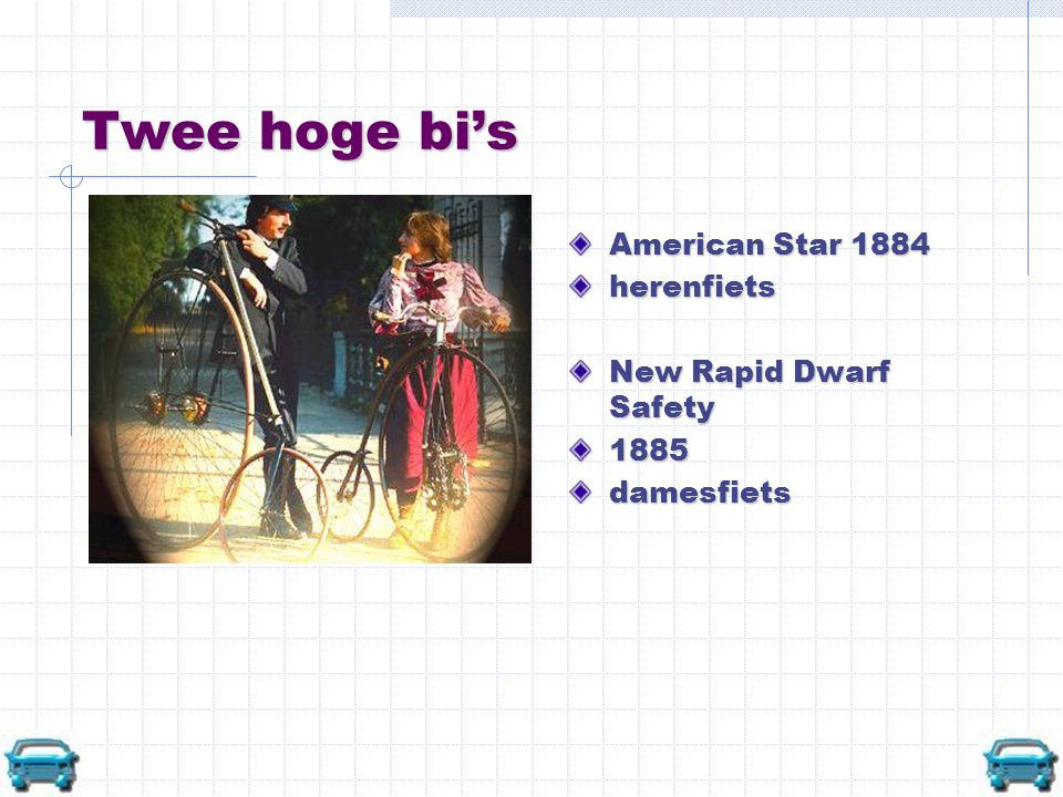 Twee hoge bi's American Star 1884 herenfiets New Rapid Dwarf Safety 1885 damesfiets