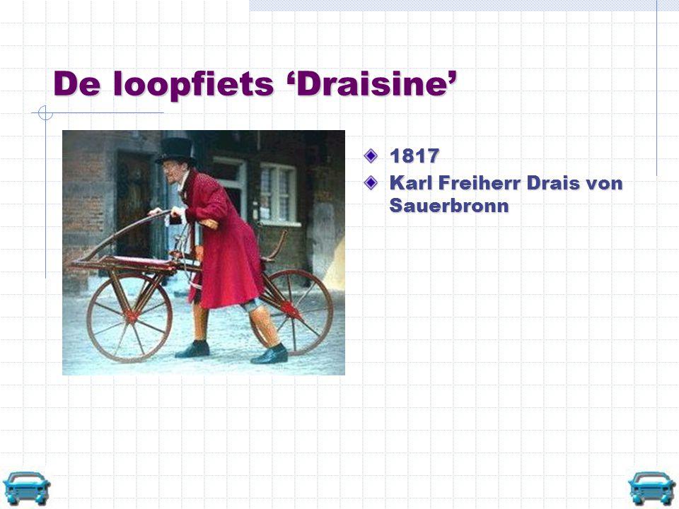 De loopfiets 'Draisine' 1817 Karl Freiherr Drais von Sauerbronn