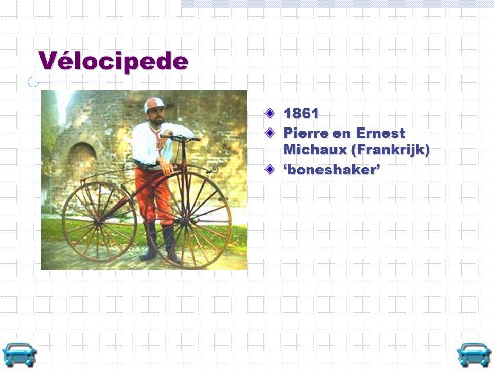 Vélocipede 1861 Pierre en Ernest Michaux (Frankrijk) 'boneshaker'