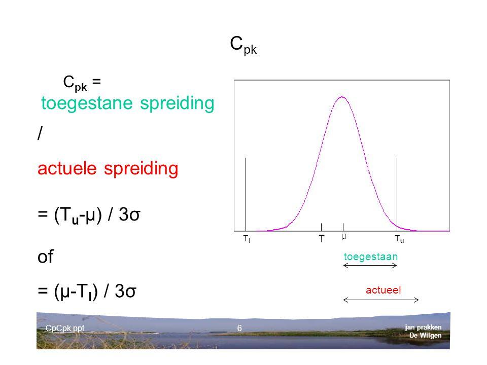 jan prakken De Wilgen CpCpk.ppt6 C pk C pk = TlTl TuTu actueel toegestaan toegestane spreiding / actuele spreiding = (T u -µ) / 3σ of = (µ-T l ) / 3σ T