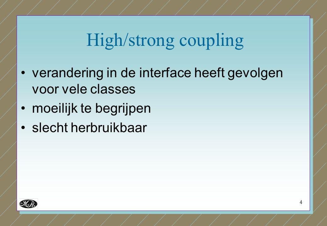 4 High/strong coupling verandering in de interface heeft gevolgen voor vele classes moeilijk te begrijpen slecht herbruikbaar