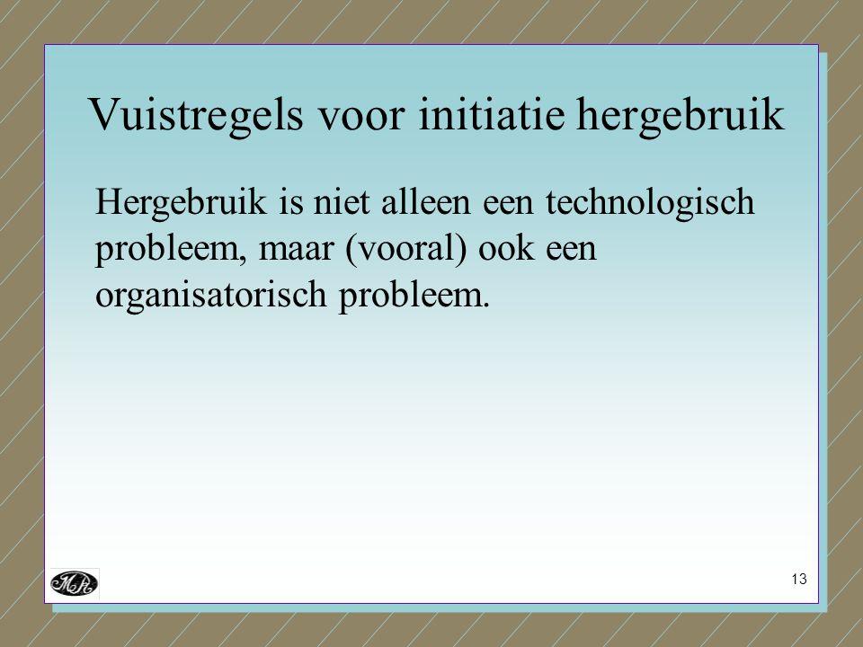 13 Hergebruik is niet alleen een technologisch probleem, maar (vooral) ook een organisatorisch probleem. Vuistregels voor initiatie hergebruik