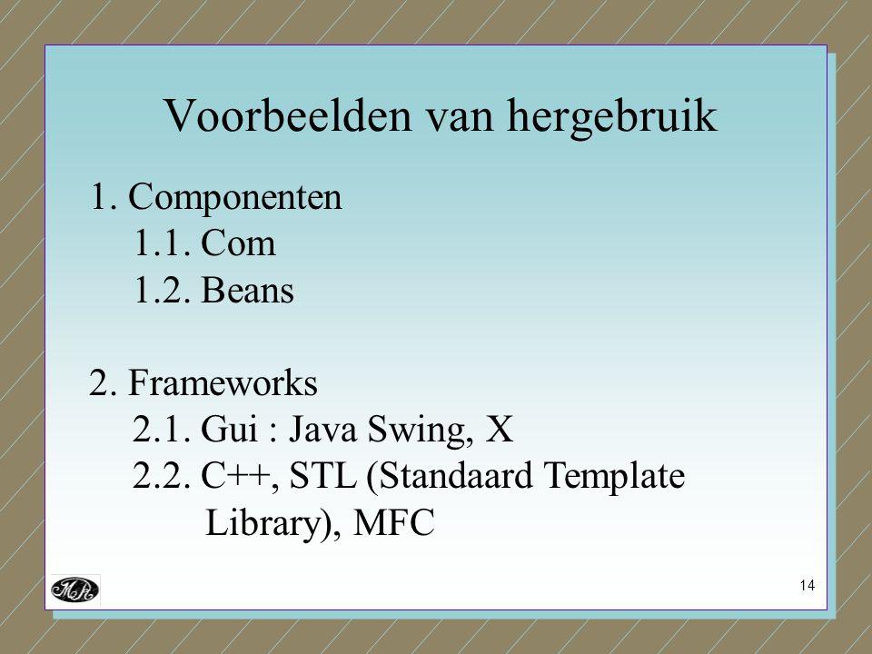 14 1. Componenten 1.1. Com 1.2. Beans 2. Frameworks 2.1. Gui : Java Swing, X 2.2. C++, STL (Standaard Template Library), MFC Voorbeelden van hergebrui