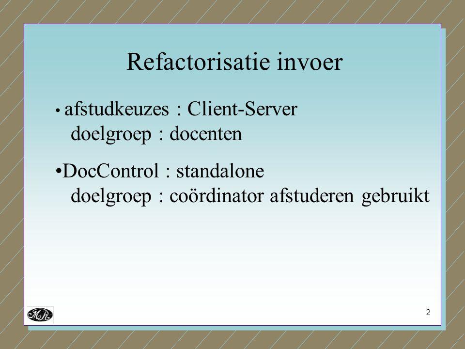 2 afstudkeuzes : Client-Server doelgroep : docenten DocControl : standalone doelgroep : coördinator afstuderen gebruikt Refactorisatie invoer