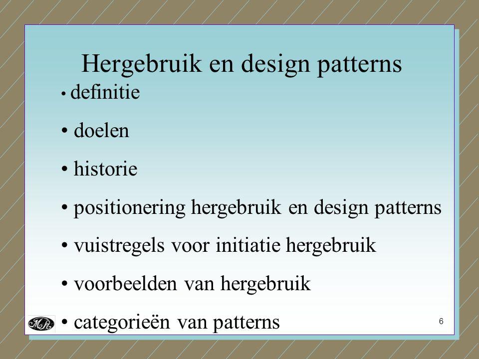 6 definitie doelen historie positionering hergebruik en design patterns vuistregels voor initiatie hergebruik voorbeelden van hergebruik categorieën van patterns Hergebruik en design patterns