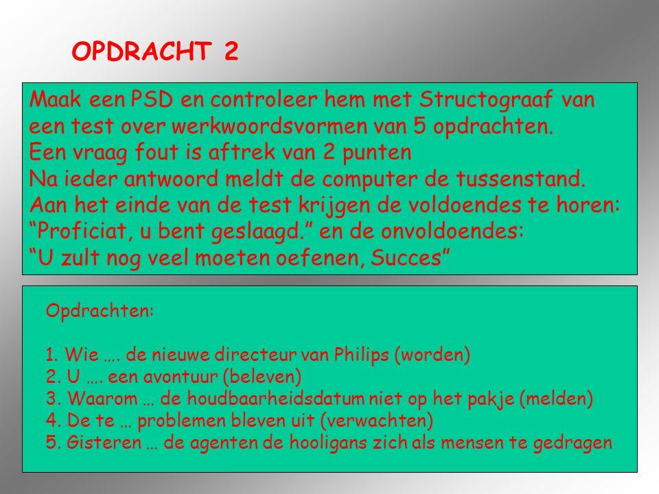 OPDRACHT 2 Maak een PSD en controleer hem met Structograaf van een test over werkwoordsvormen van 5 opdrachten. Een vraag fout is aftrek van 2 punten