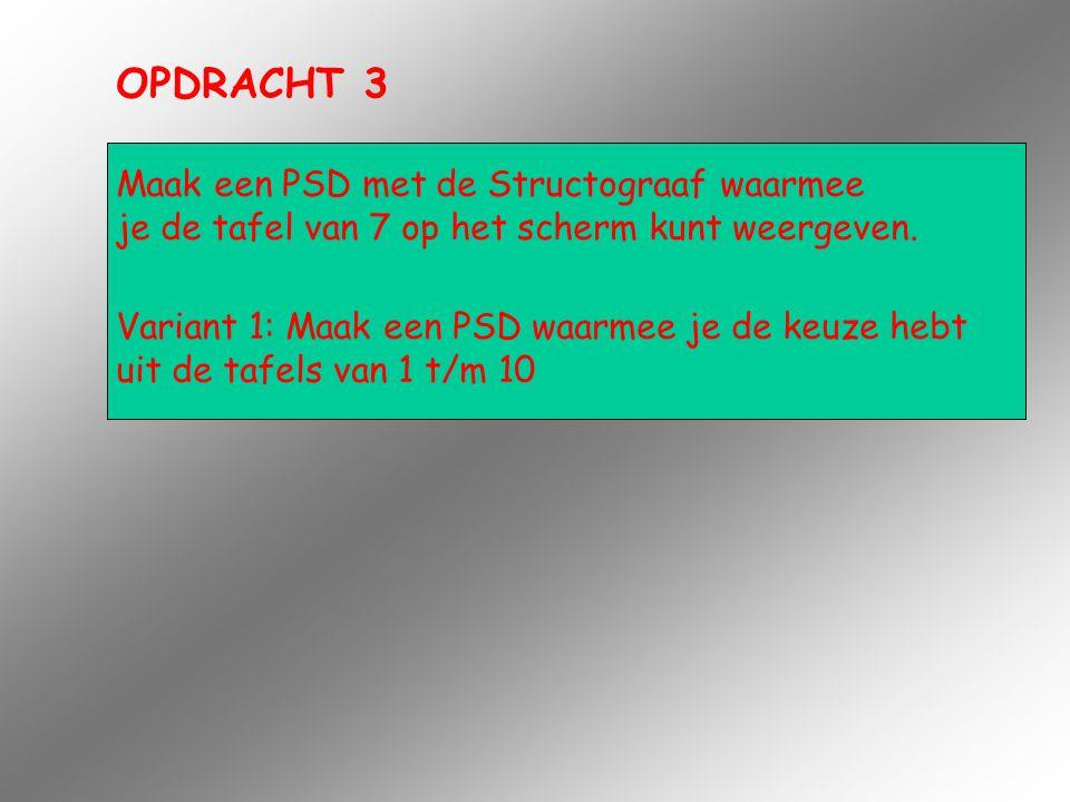 OPDRACHT 3 Maak een PSD met de Structograaf waarmee je de tafel van 7 op het scherm kunt weergeven. Variant 1: Maak een PSD waarmee je de keuze hebt u