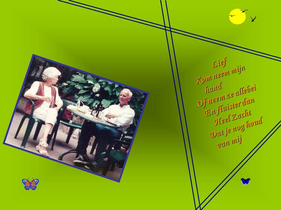 Mijn kleinkinderen Die me omhelsden als ik lacht Ben je mijn troost in droeve dagen Niet wetende wat er was Je vertederd af te vragen Of het soms aan jou niet lag Speel maar ; lieve Kinderen Morgen komen er andere dagen En zullen je oogjes stillekens vragen Waarom je Opa lacht