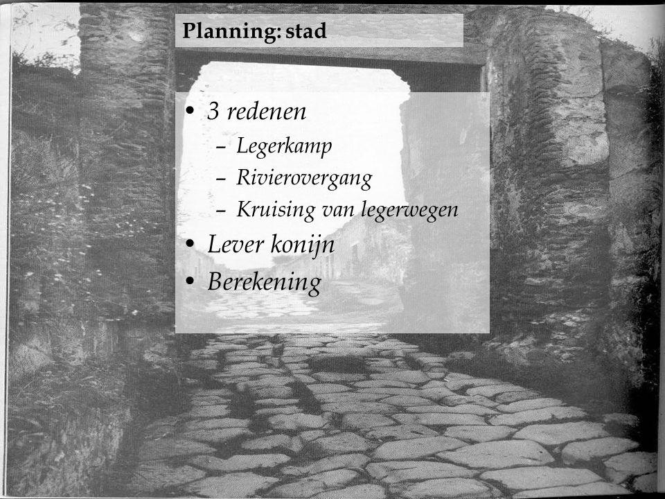 3 redenen – Legerkamp – Rivierovergang – Kruising van legerwegen Lever konijn Berekening Planning: stad