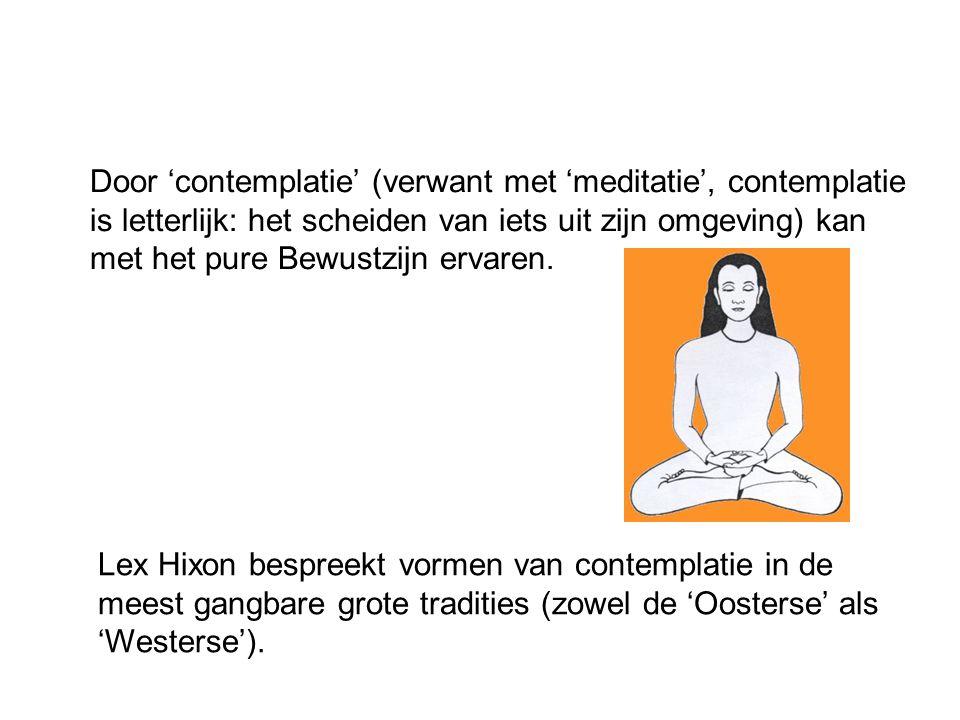 Door 'contemplatie' (verwant met 'meditatie', contemplatie is letterlijk: het scheiden van iets uit zijn omgeving) kan met het pure Bewustzijn ervaren