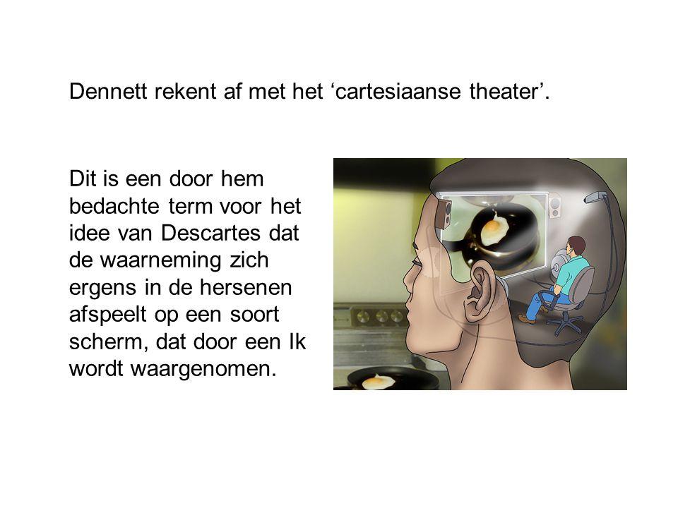 Dennett rekent af met het 'cartesiaanse theater'. Dit is een door hem bedachte term voor het idee van Descartes dat de waarneming zich ergens in de he