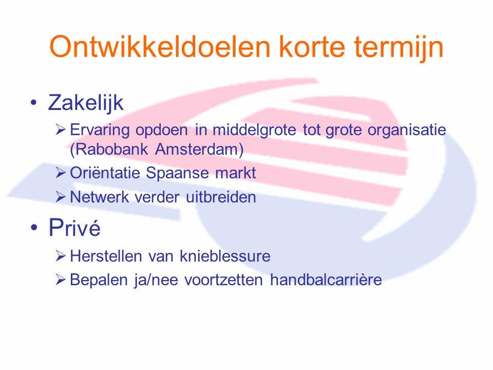 Ontwikkeldoelen korte termijn Zakelijk  Ervaring opdoen in middelgrote tot grote organisatie (Rabobank Amsterdam)  Oriëntatie Spaanse markt  Netwer