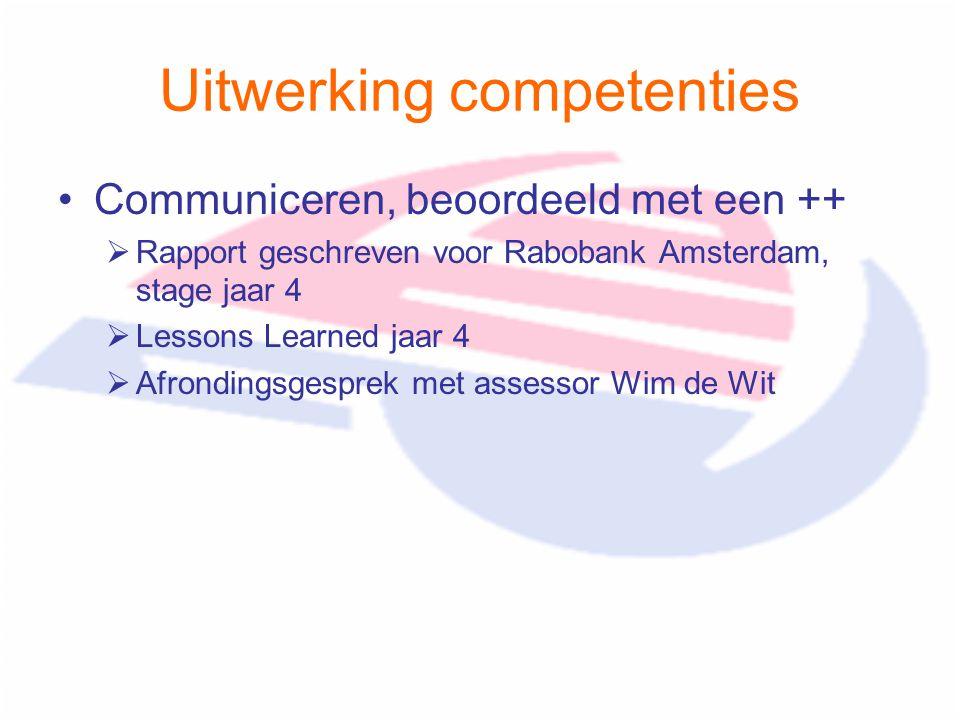 Uitwerking competenties Communiceren, beoordeeld met een ++  Rapport geschreven voor Rabobank Amsterdam, stage jaar 4  Lessons Learned jaar 4  Afrondingsgesprek met assessor Wim de Wit