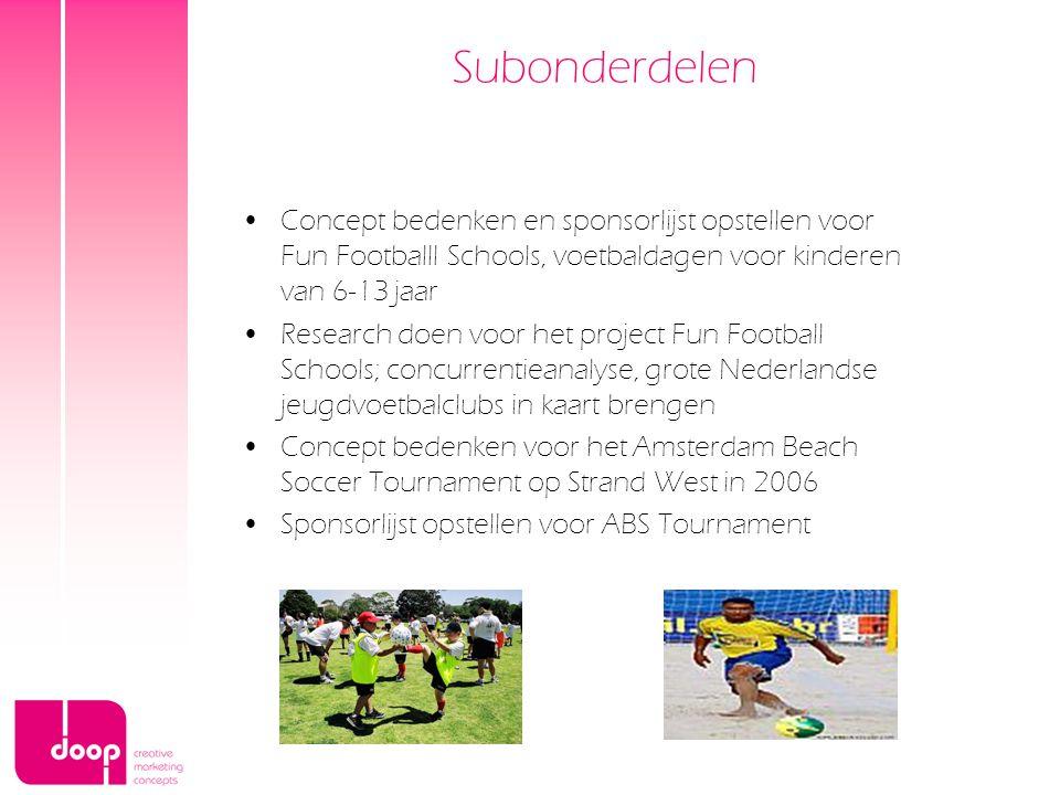 Subonderdelen Concept bedenken en sponsorlijst opstellen voor Fun Footballl Schools, voetbaldagen voor kinderen van 6-13 jaar Research doen voor het p