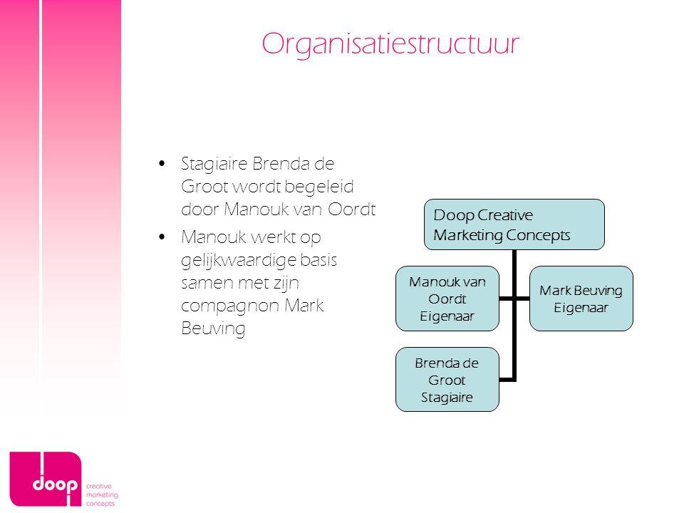Organisatiestructuur Stagiaire Brenda de Groot wordt begeleid door Manouk van Oordt Manouk werkt op gelijkwaardige basis samen met zijn compagnon Mark