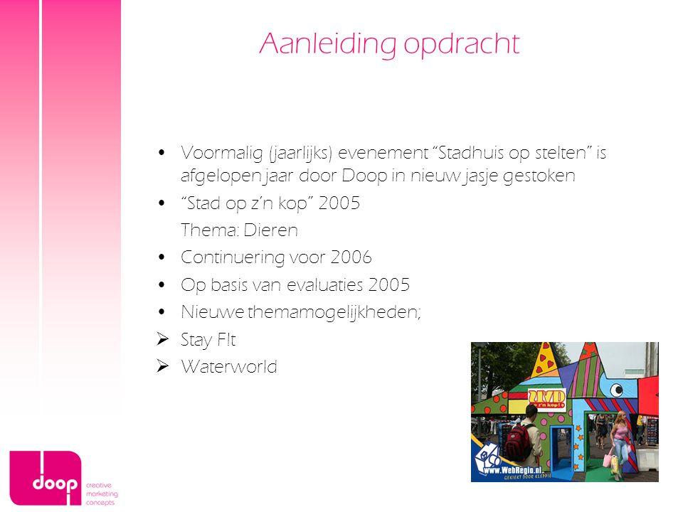 """Aanleiding opdracht Voormalig (jaarlijks) evenement """"Stadhuis op stelten"""" is afgelopen jaar door Doop in nieuw jasje gestoken """"Stad op z'n kop"""" 2005 T"""