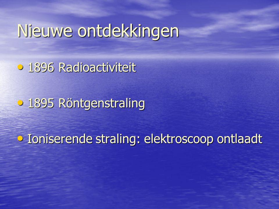 Nieuwe ontdekkingen 1896 Radioactiviteit 1896 Radioactiviteit 1895 Röntgenstraling 1895 Röntgenstraling Ioniserende straling: elektroscoop ontlaadt Io