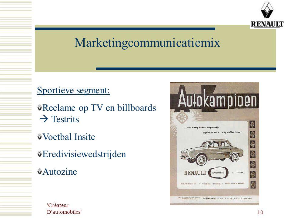 'Créateur D'automobiles' 10 Marketingcommunicatiemix Sportieve segment: Reclame op TV en billboards  Testrits Voetbal Insite Eredivisiewedstrijden Au