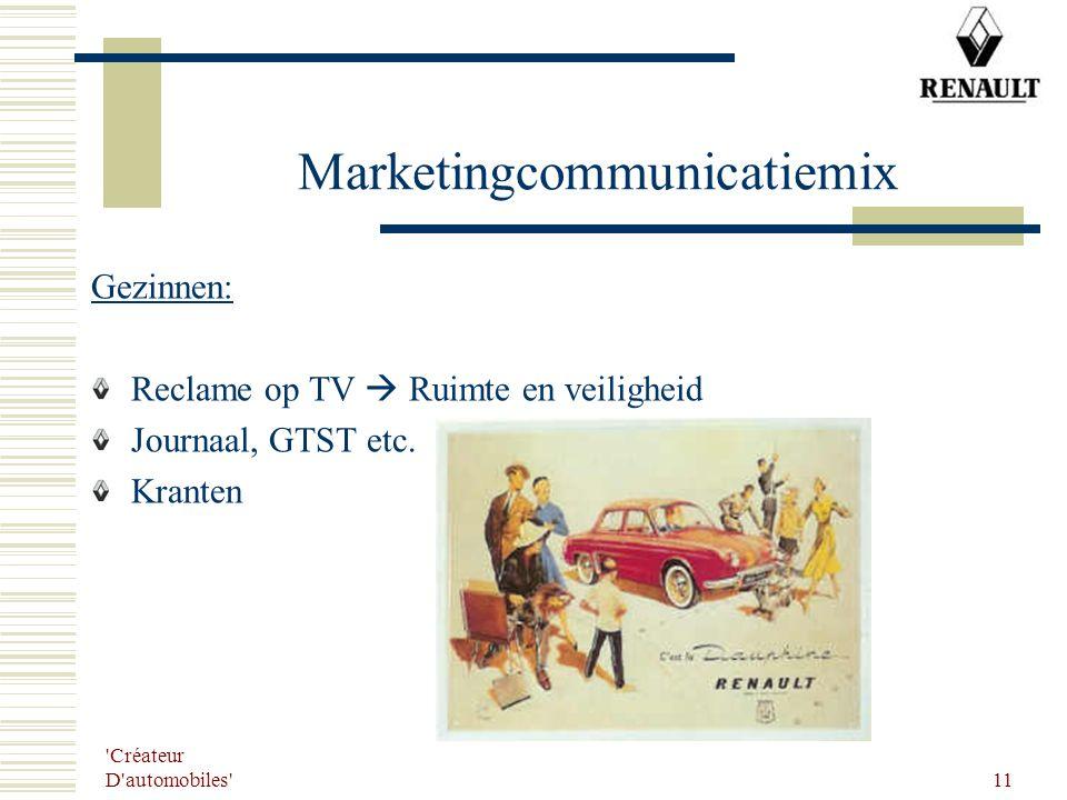 'Créateur D'automobiles' 11 Marketingcommunicatiemix Gezinnen: Reclame op TV  Ruimte en veiligheid Journaal, GTST etc. Kranten