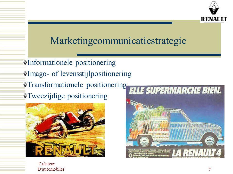 'Créateur D'automobiles' 7 Marketingcommunicatiestrategie Informationele positionering Imago- of levensstijlpositionering Transformationele positioner
