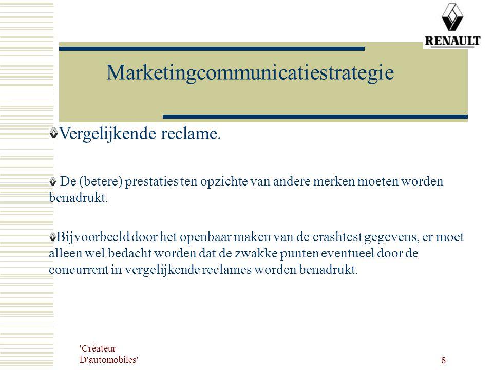 'Créateur D'automobiles' 8 Marketingcommunicatiestrategie Vergelijkende reclame. De (betere) prestaties ten opzichte van andere merken moeten worden b
