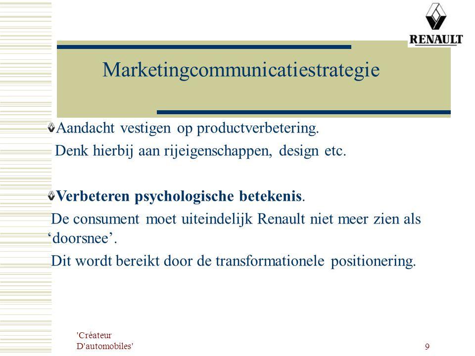 'Créateur D'automobiles' 9 Marketingcommunicatiestrategie Aandacht vestigen op productverbetering. Denk hierbij aan rijeigenschappen, design etc. Verb