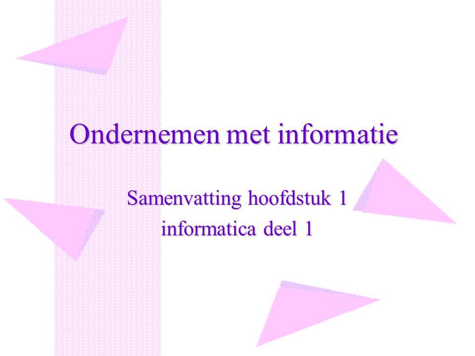 Ondernemen met informatie Samenvatting hoofdstuk 1 informatica deel 1