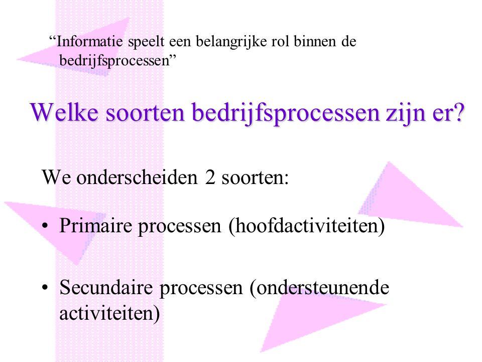 Welke soorten bedrijfsprocessen zijn er? We onderscheiden 2 soorten: Primaire processen (hoofdactiviteiten) Secundaire processen (ondersteunende activ