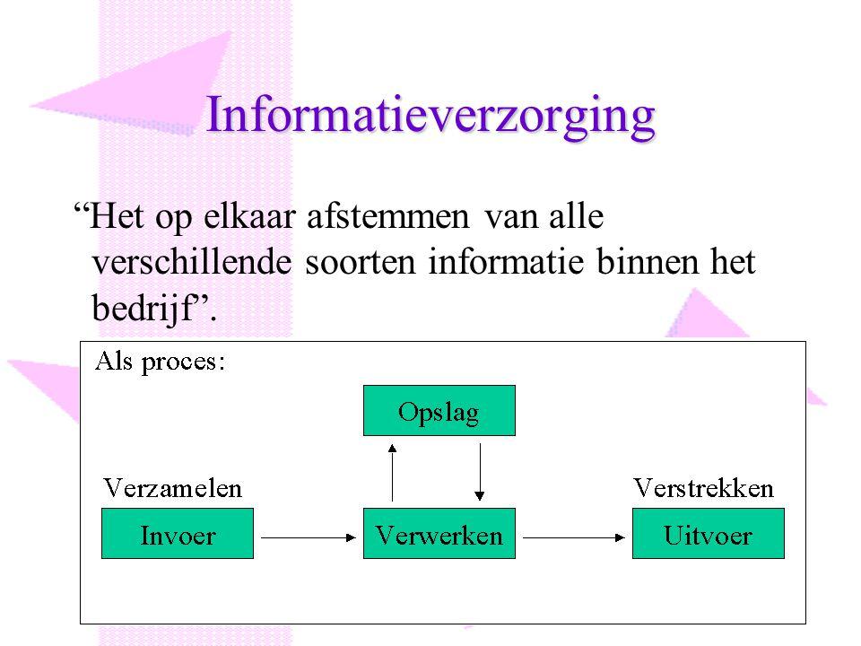 """Informatieverzorging """"Het op elkaar afstemmen van alle verschillende soorten informatie binnen het bedrijf""""."""